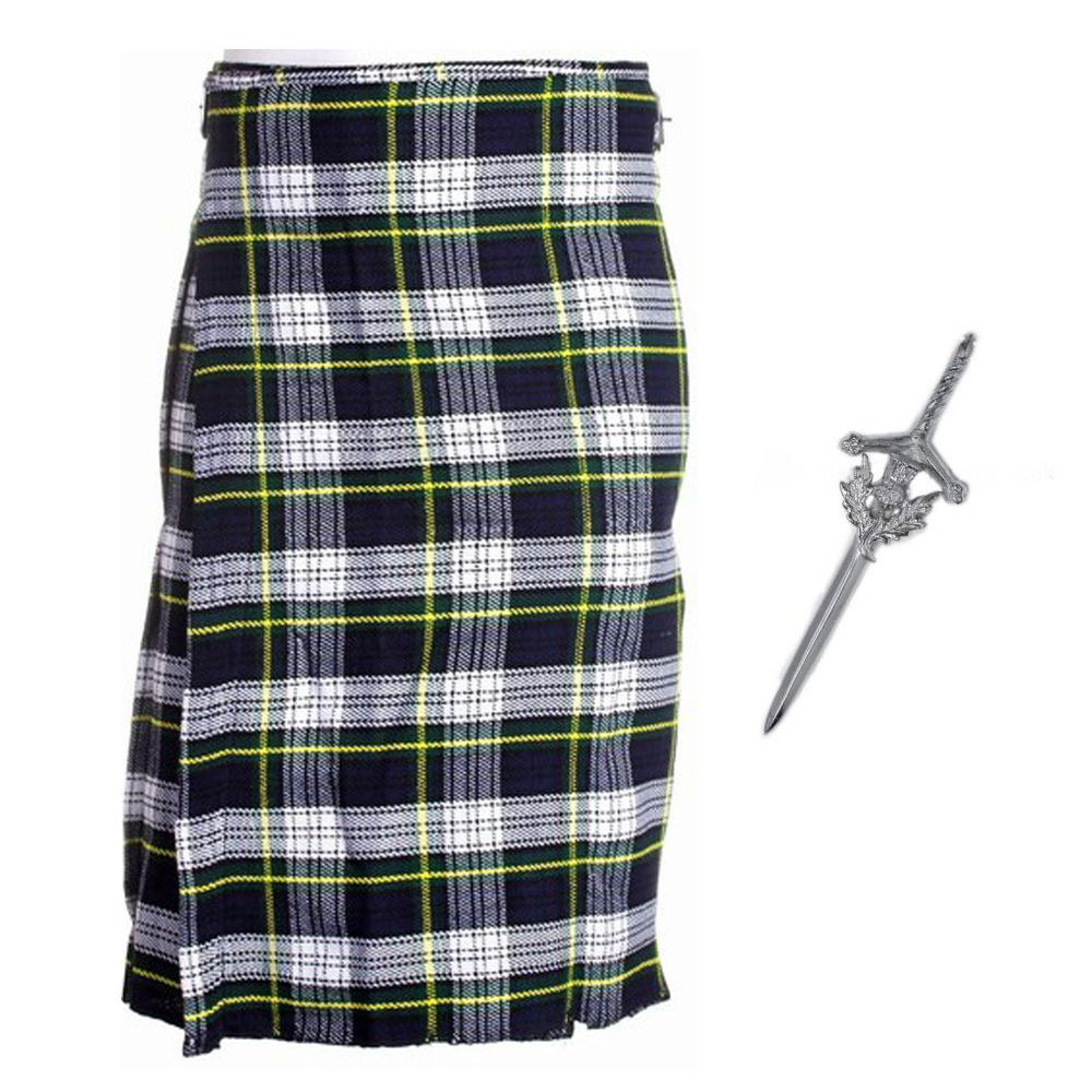 4 Piece Kilt Package With Sporran Sock And Kilt Pin Granite Grey Sizes 30-44