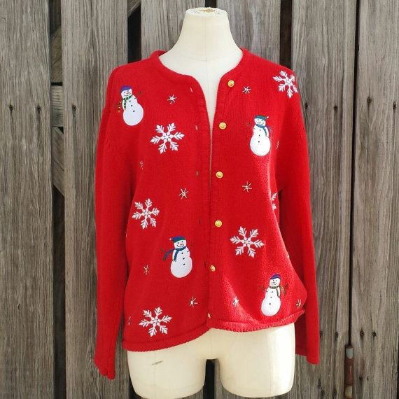 Vintage Women's Ugly Christmas Sweater  Red by TomieHarleneVintage, $18.00