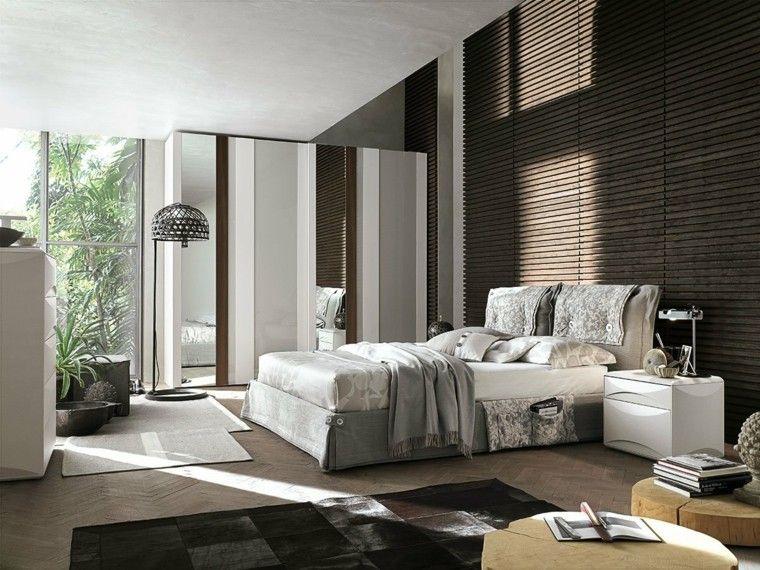Pared con l minas de madera en el dormitorio moderno - Dormitorios principales modernos ...