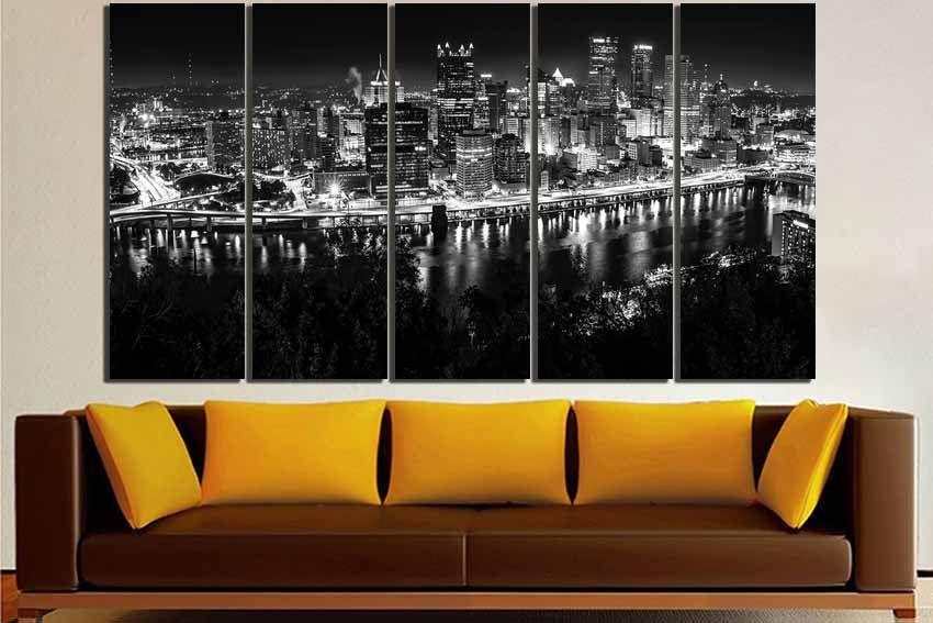 Pittsburgh Canvas Pittsburgh Print City Wall Art Pittsburgh Etsy City Wall Art Pittsburgh Decor City Skyline Art