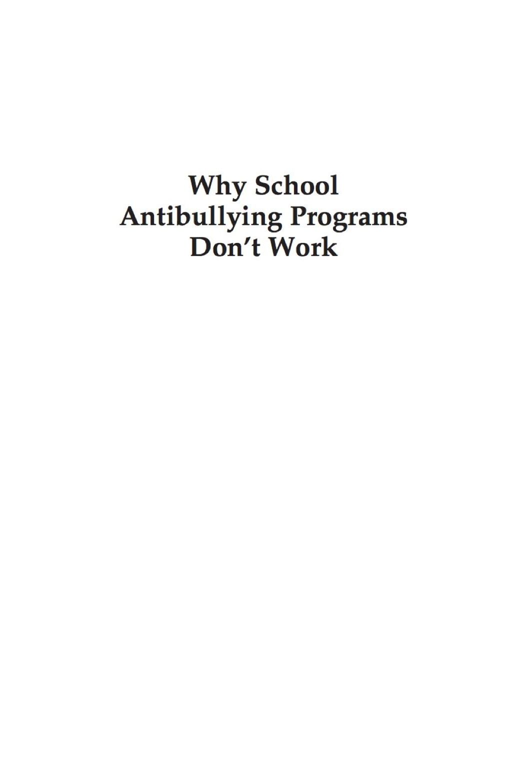 Why School Anti-Bullying Programs Dont Work