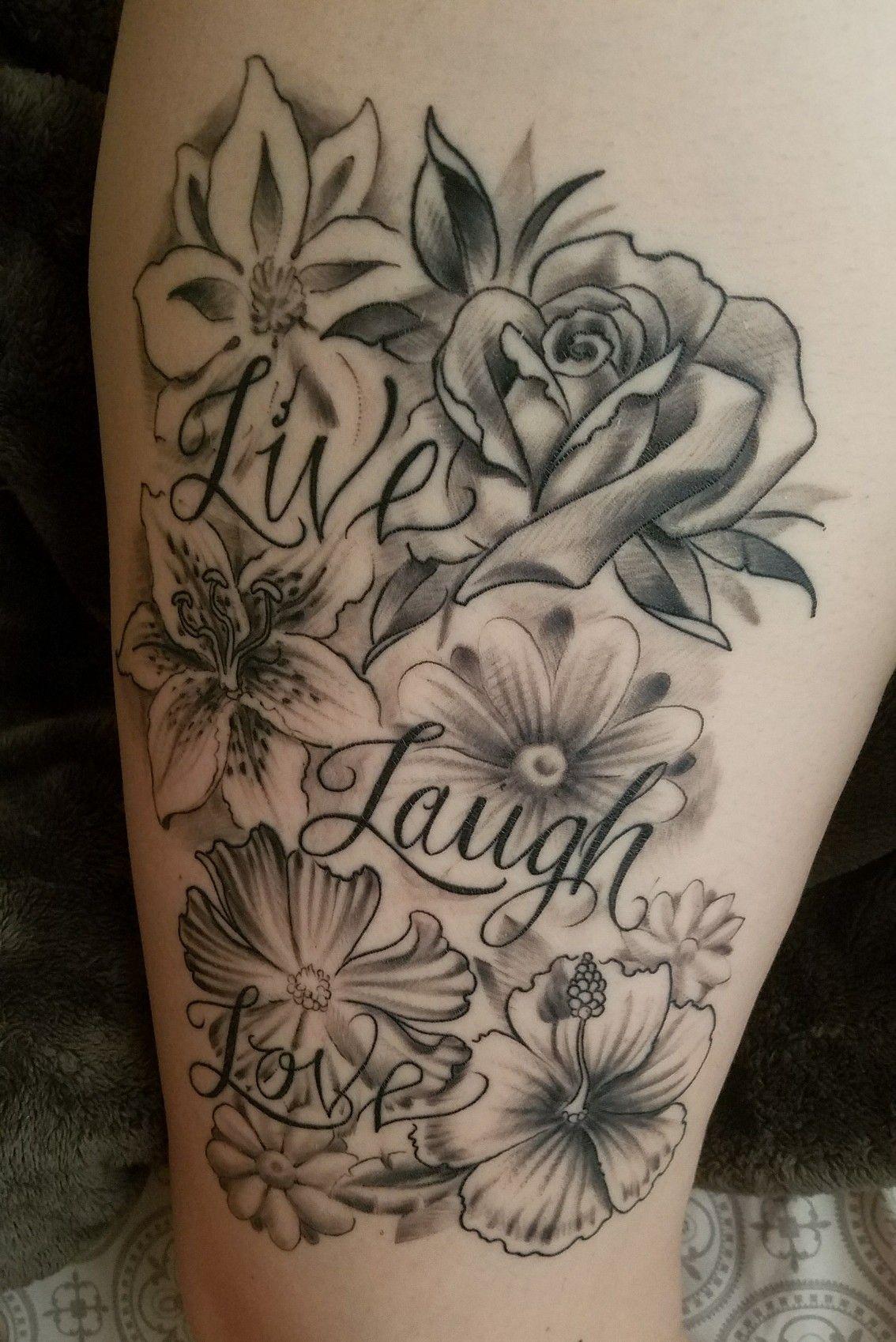 flowers tattoo thightattoo cosmo rose lily daisy sunflower