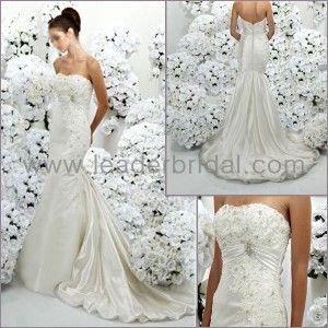 Rhinestone and Lace Strapless Wedding Dress