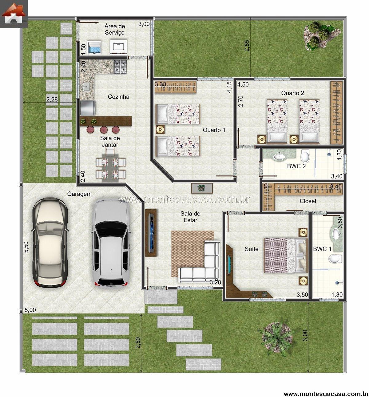 Plantas de casas 3 quartos projetos para experimentar for Planos de casas pequenas de una planta