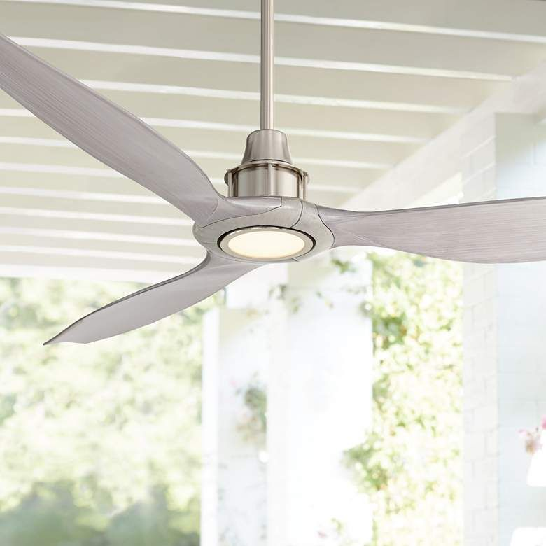 58 Interceptor Brushed Nickel Damp Led Ceiling Fan 71p29 Lamps Plus In 2020 Led Ceiling Fan Ceiling Fan Brushed Nickel Ceiling Fan