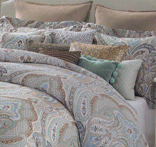 tahari aphrodite 3pc duvet cover set full / queen or king cotton