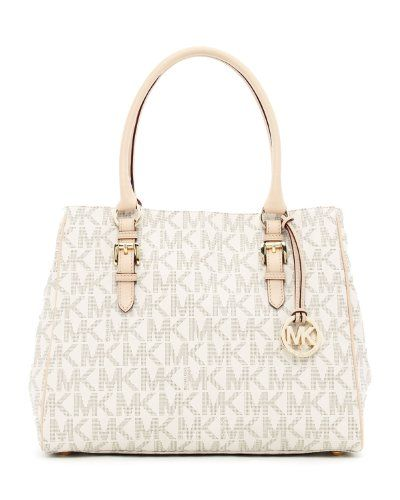 a1ed2c779afc Michael Kors Medium Jet Set Logo Work Tote in Vanilla. I m definitely  buying this after Christmas!!