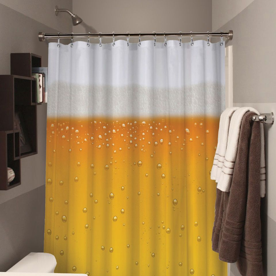 Beer Shower Curtain Extends Beer O Clock In Your Bathroom With