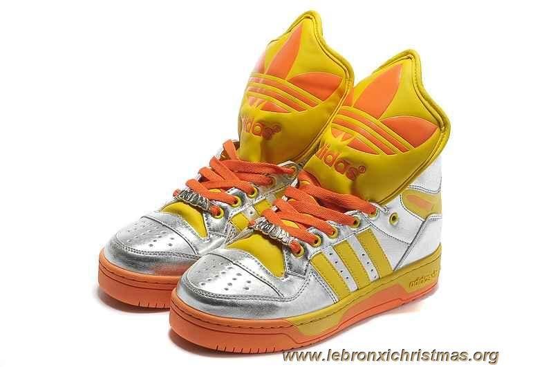 first rate f7b8a fc910 Pas Cher Adidas X Jeremy Scott Big Tongue Chaussures Argent Jaune