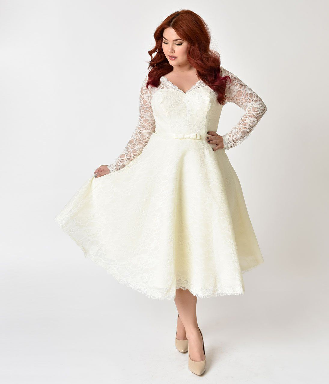 Unique Vintage Plus Size 1950s Style Ivory Lace Long Sleeve Martinique Swing Dress Dresses Long Sleeve Lace Swing Dress