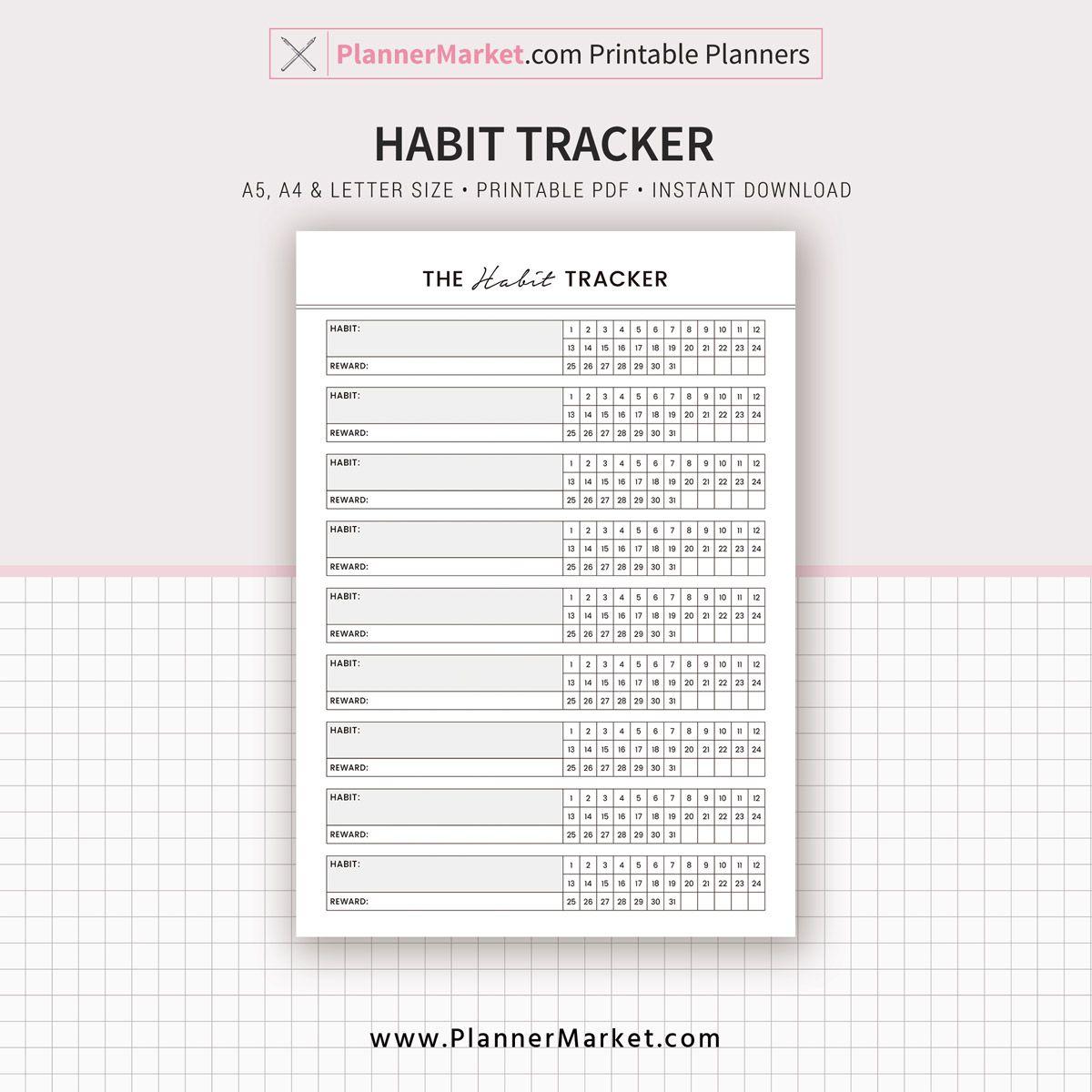 Habit Tracker, Monthly Habit Tracker, 2020 Planner, A5, A4
