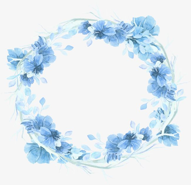 Sky Blue Flower Wreath Vector Material Wreath Decoration Blue Wreath Png And Vector Blue Watercolor Floral Floral Wreath Watercolor Floral Watercolor