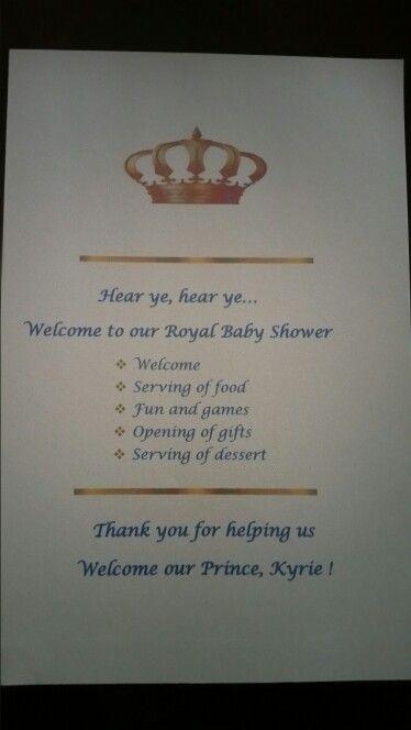 Baby Shower Programme For Boy : shower, programme, Royal, Shower, Intinery, Royalty, Shower,, Program,, Showers