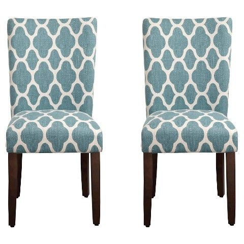 Homepop Parson Dining Chair Teal Geo Set Of 2 Parsons