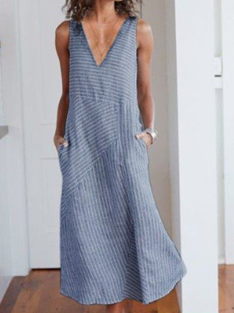Casual sleeveless cottonblend dresses striped maxi