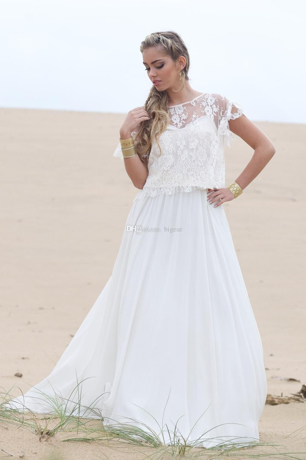 9046 Discount Summer Boho Hippie Beach Wedding Dress With Lace Jacket Gown A Line