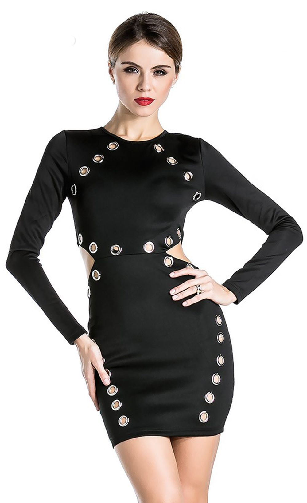 sexy longsleeved round neck empty thread dress dress