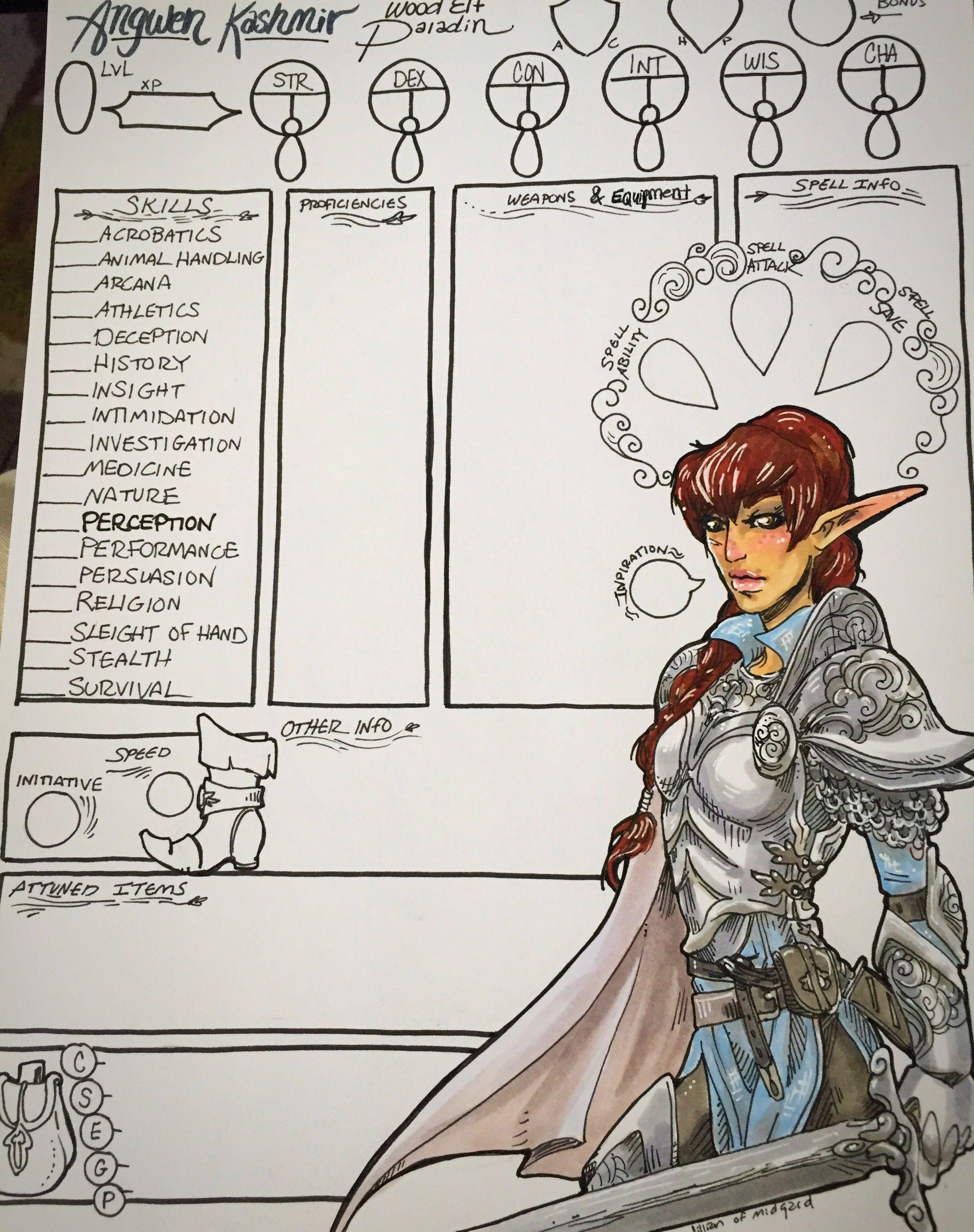 jillian of midgard custom illustrated d d 5th edition character