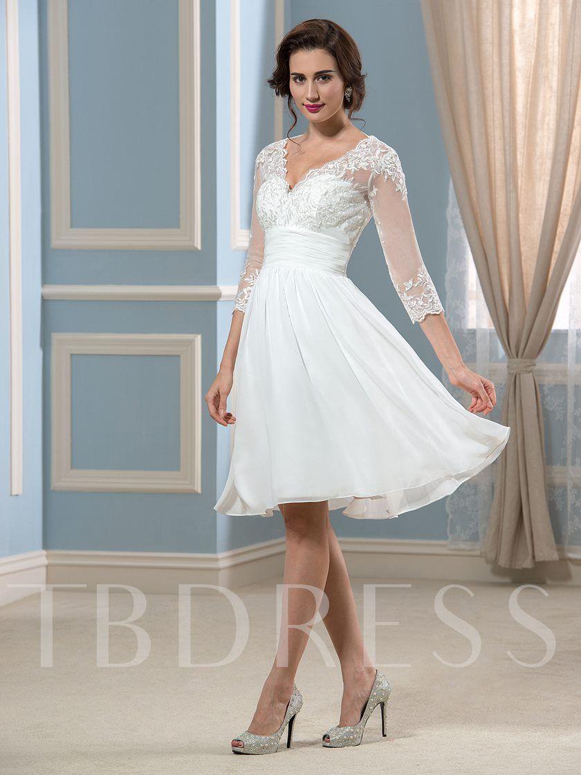 Lace Appliques Knee Length Beach Wedding Dress Knee Length Wedding Dress Short Wedding Dress Beach Wedding Dress Trends [ 1120 x 840 Pixel ]