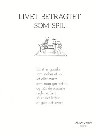 piet hein gruk citater PIET HEIN   GRUK   30X40 LIVET BETRAGTET SOM SPIL | Danske citater  piet hein gruk citater