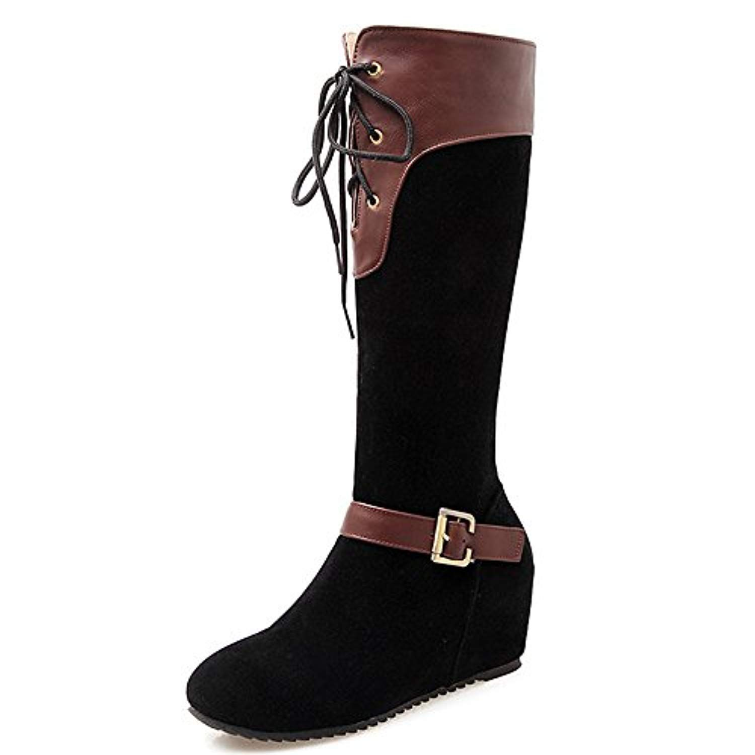 Nubuck Women S Wedge Heel Round Toe Lace Up Buckle Knee High Boot You Can Find Out More Details At The Link O Kitten Heel Boots Boots Womens Knee High Boots