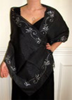 Shimmering black metallic evening shawl - handcrafted unique for your evening dress. Exquisite shawl!