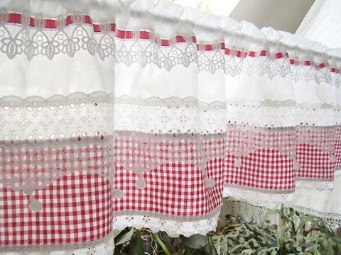 vichykaro rot gardine landhausstil shabby chic 31 cortinas pinterest gardinen gardinen. Black Bedroom Furniture Sets. Home Design Ideas