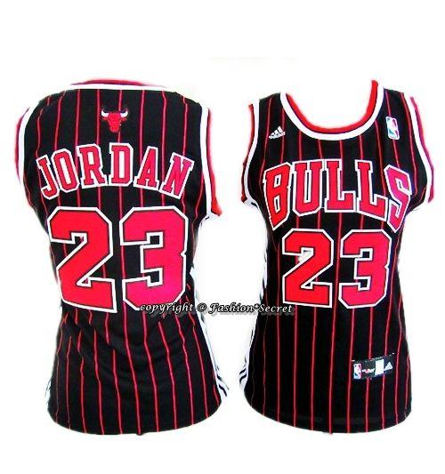 09bbbb7af54 NBA CHICAGO BULLS #23 MICHAEL JORDAN Red Stripe Black Woman Jersey #NBA # Jersey #chicagobulls #MicahelJordan