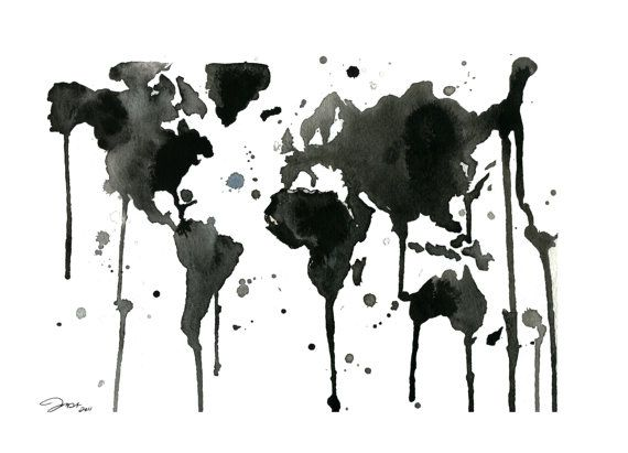 Love this version of the world black and white world watercolor love this version of the world black and white world watercolor map print sized gumiabroncs Choice Image