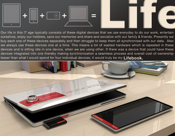 """The proposed Lifebook is a laptop computer concept based on the principle of """"shared hardware""""."""