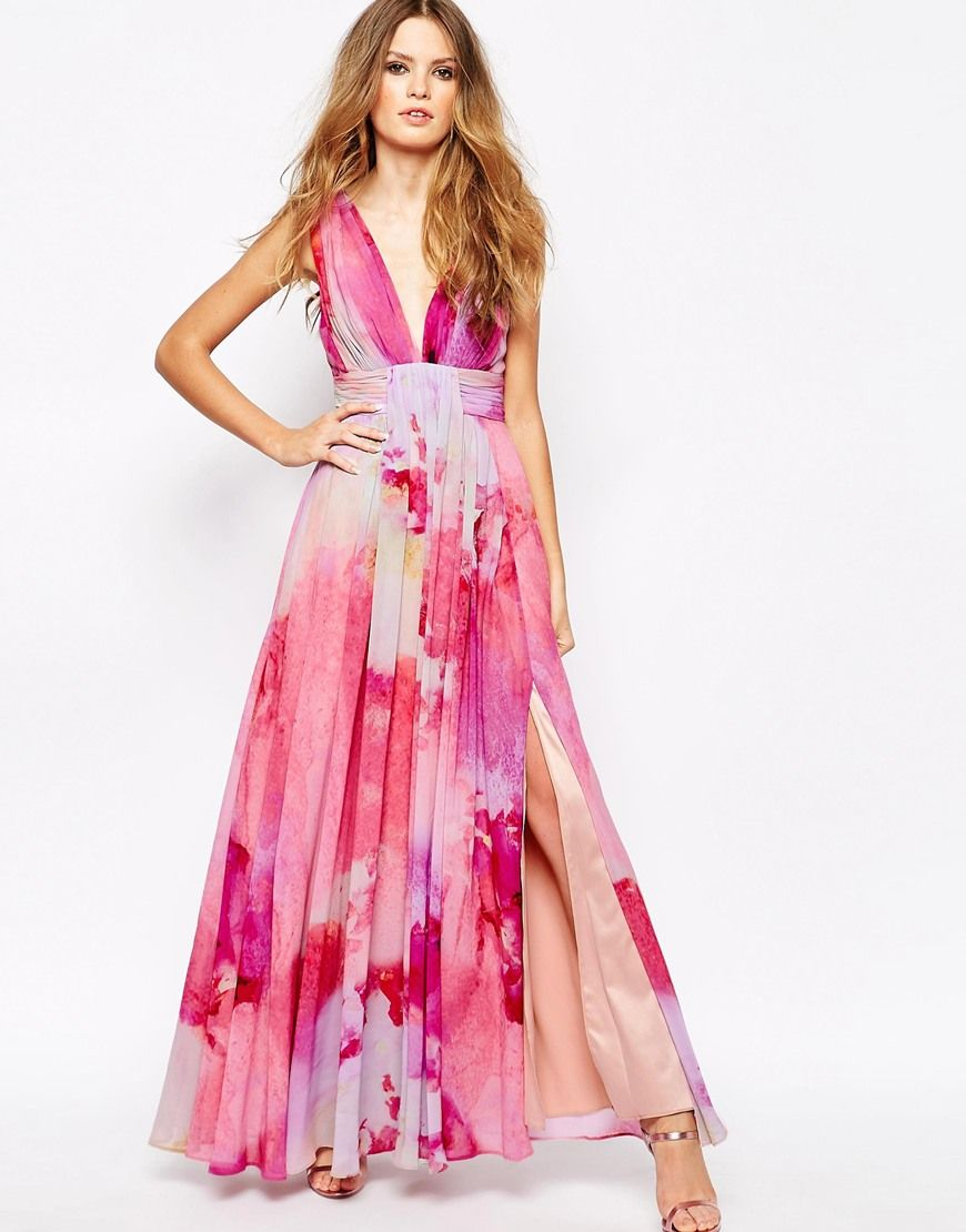 What to Wear to a May Wedding | Pink floral maxi dress, Floral maxi ...