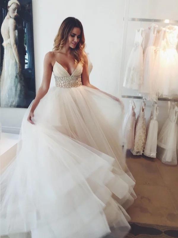 f6ebbea8f30a Affordable Beaded Wedding Dresses V Neck Spaghetti Strap Ball Gown Wedding  Dresses