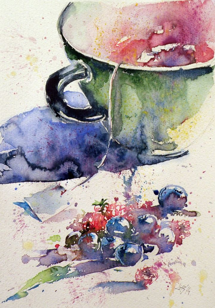 Time For Tea Original watercolor painting illustration