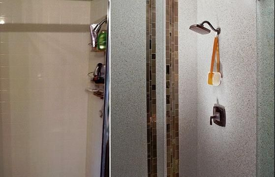 Granite Transformations Shower Before After Shower Remodel Recycled Glass Tile Granite