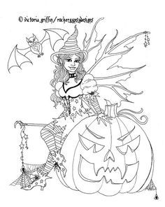 Halloween Pumpkin Fairy Witch With Bat Printable Coloring Page For Adults Kleuren Voor Volwassenen Malarbocker Halloween Pyssel For Barn Malarbocker For Vuxna