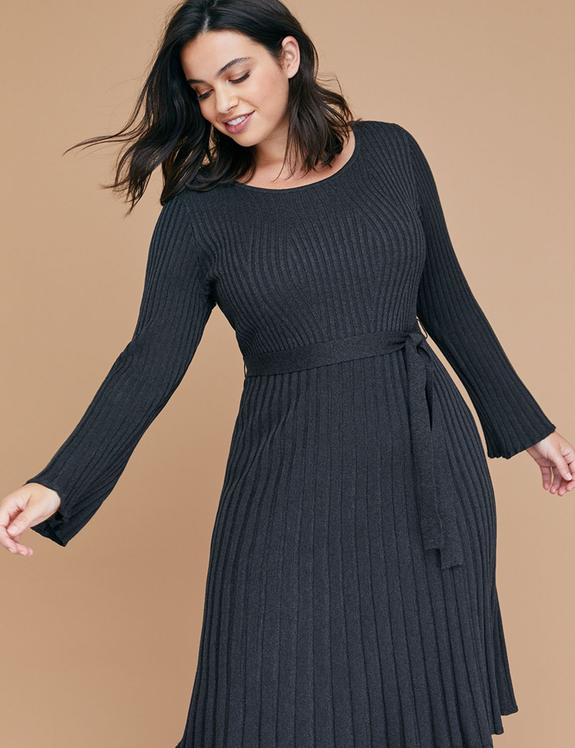 fc6ee89e0f1d Bell Sleeve Fit & Flare Ribbed Sweater Dress | Products | Dresses ...