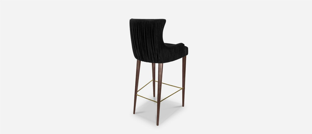 fdeedfb6863ba3 Gardner Mid-Century Modern Bar Chair has long legs in walnut wood with  polished brass details, its seat upholstered in genuine leather and cotton  velvet ...