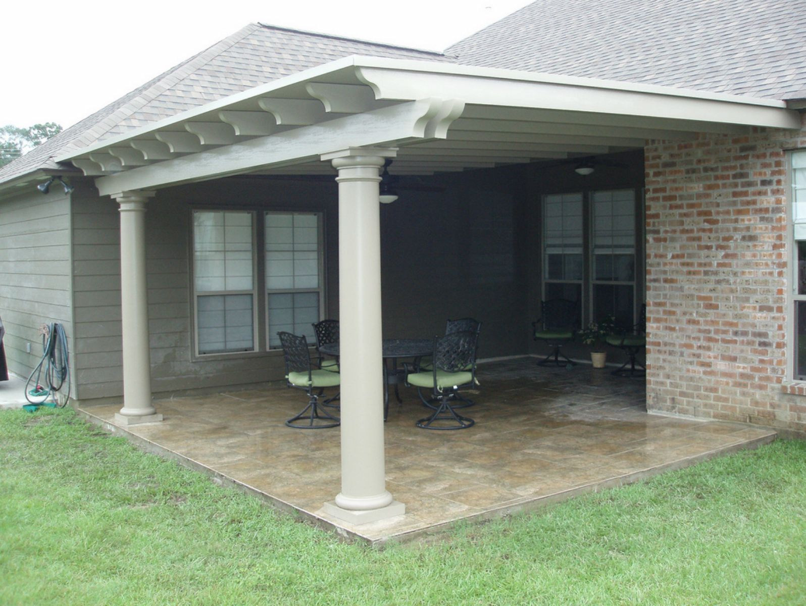 "covered patio using snap n locka""¢ panel roof circular columns and"