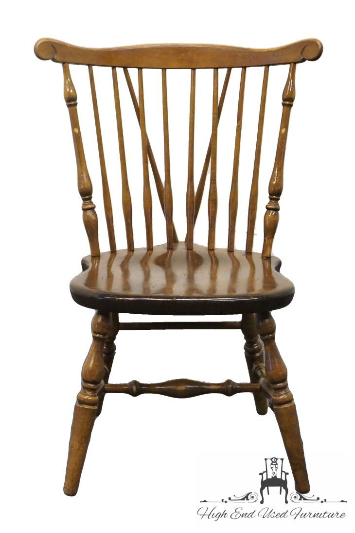 High End Used Furniture | ETHAN ALLEN Antiqued Pine Old Tavern Scroll Back  Duxbury Side Chair 12 6010