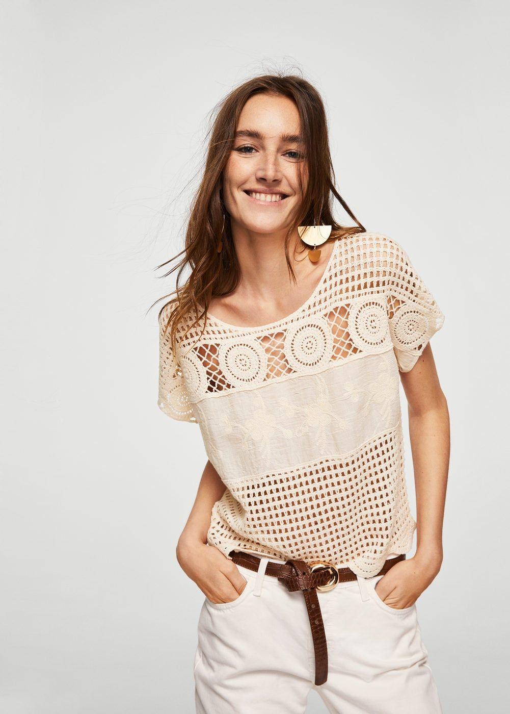 nuevo concepto venta caliente barato a un precio razonable Camiseta detalle crochet - Mujer   nadia in 2019   Tops ...