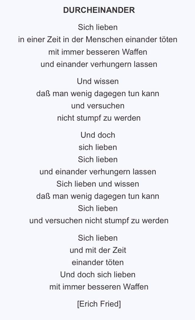 Durcheinander Erich Fried Weisheiten Zitate Sprüche