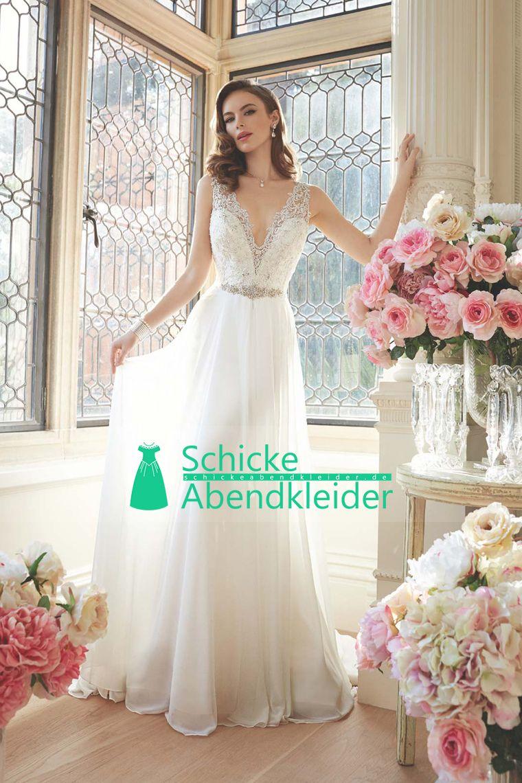 Sexy Brautkleider 2016 Meerjungfrau V-Ausschnitt Gericht Zug Satin mit Applikationen Open Back € 168.41 SAPBZMHX6Q - schickeabendkleider.de for mobile