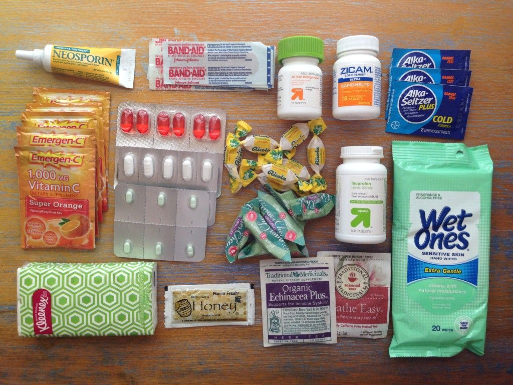 """How to make a """"travel medicine cabinet"""" for cold & flu season.  Post --> http://thetravelbite.com/travel_and_food_blog/how-to-pack-for-traveling-during-cold-flu-season/"""