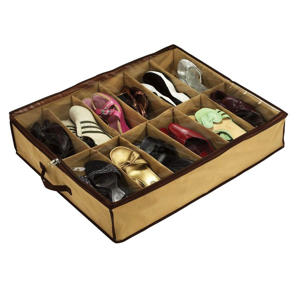 Under Bed Shoe Storage With Wheels Adorable 12Pair Under Bed Shoe Storage Brown  Products Inspiration