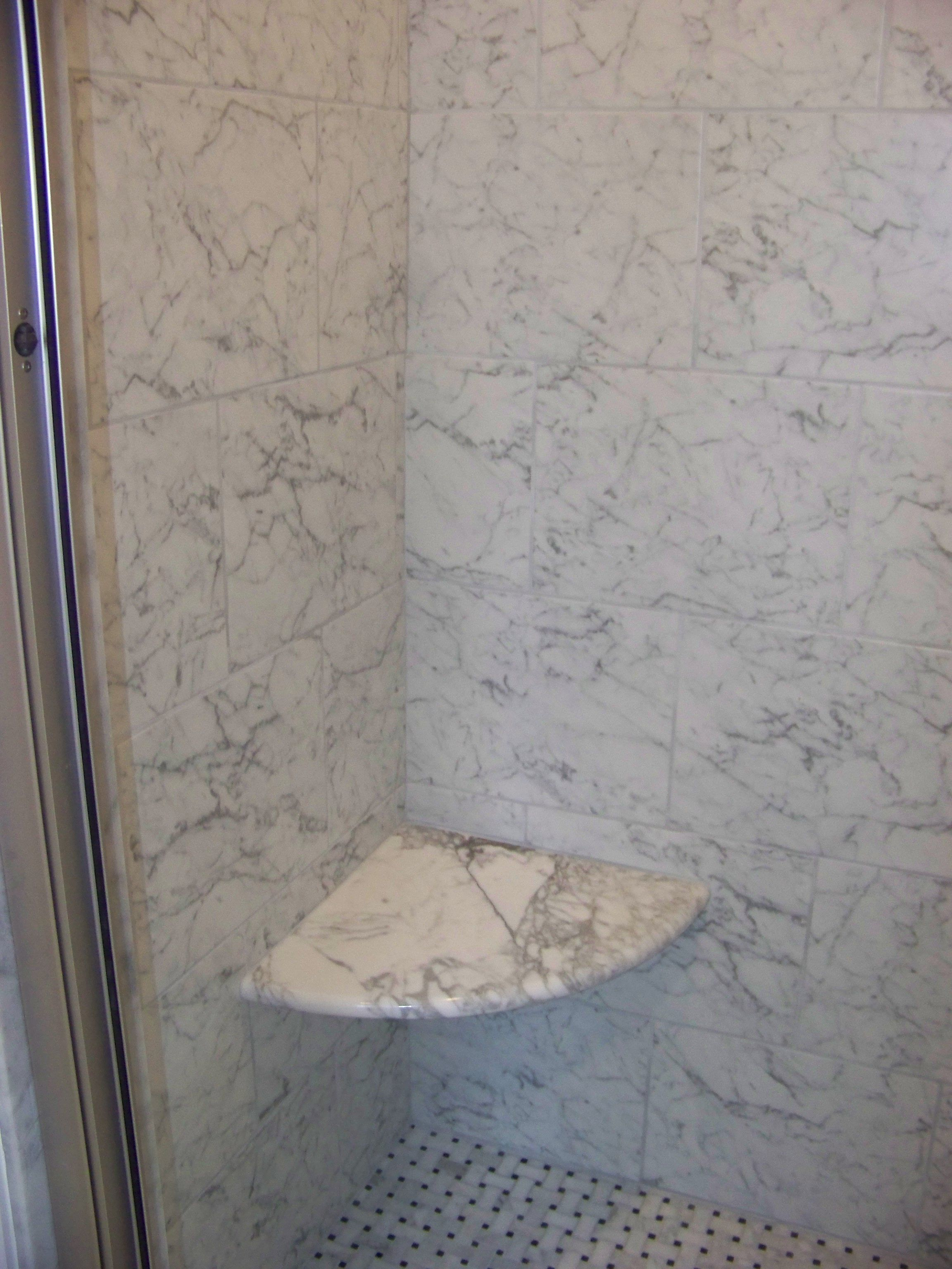 Custom carrera marble corner shower seat. | Bathroom Remodeling ...