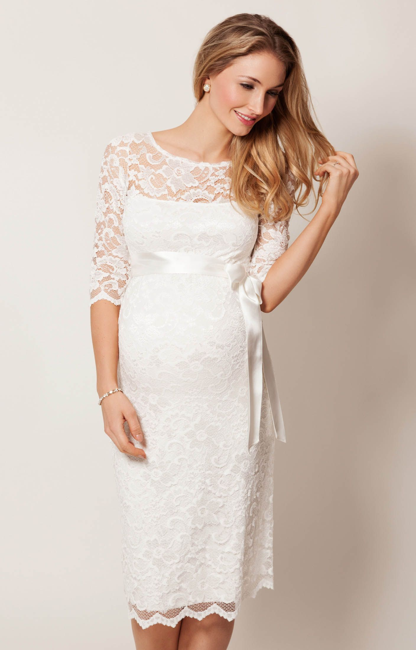 amelia lace maternity wedding dress short (ivory