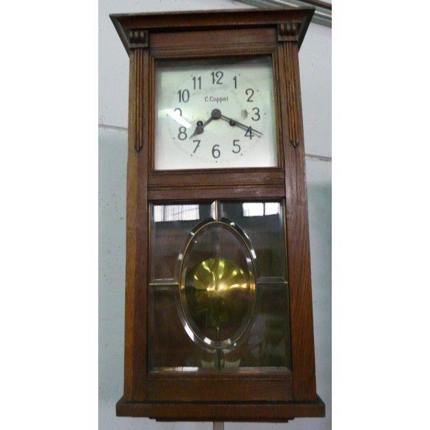 Reloj antiguo de pared en madera c coppel colecci n - Relojes pared antiguos ...