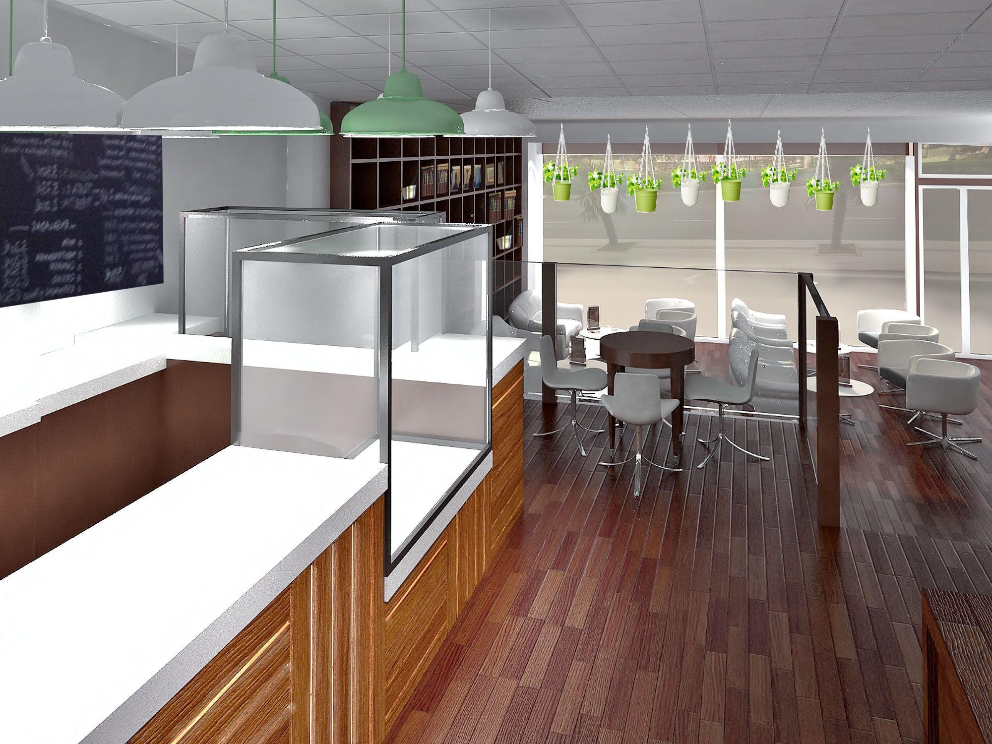 Ideas de cafeteria estilo contemporaneo color verde marron marron dise ado por aima - Diseno cafeterias modernas ...