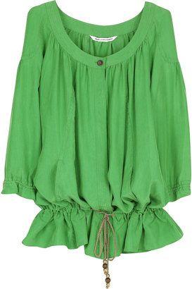 f5c9e36b ShopStyle: Diane von Furstenberg Hori silk blouse Green Silk, Green Blouse, Shirt  Blouses
