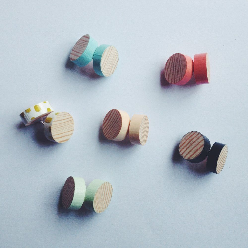 Image of WOOD GRAIN STUD EARRINGS - SIX COLOURS TO CHOOSE FROM